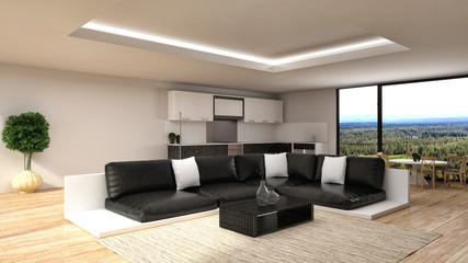 Modern kitchen and living room. 3d illustration