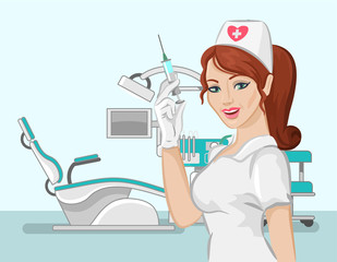 Vector dentist nurse flat illustration