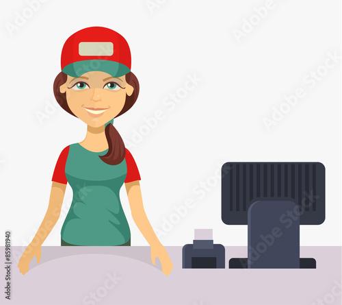 """Cashier Cartoons: """"Vector Cashier. Flat Cartoon Illustration"""" Stock Image"""