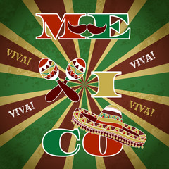 Mexican Fiesta Party Invitation with maracas, sombrero and mustache. Hand drawn vector illustration poster ' Viva Mexico' with grunge background
