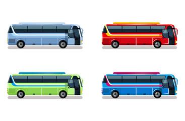 Travel bus vector flat illustration