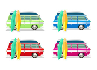 Vector travel bus flat cartoon set
