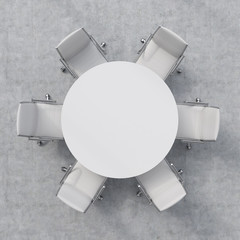 Top view of a conference room. A white round table and six chairs around. 3D interior.