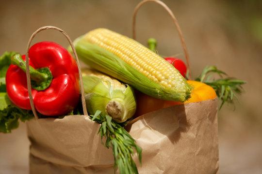 Vegetables organic bio food pepper corn salad