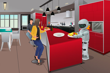 Robot serving breakfast