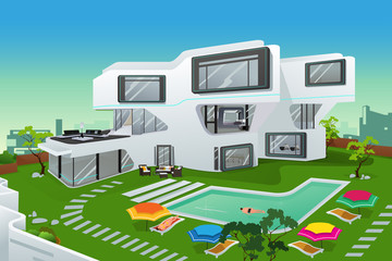 People in a modern style house