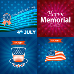 4th July Happy Memorial Day badges and labels