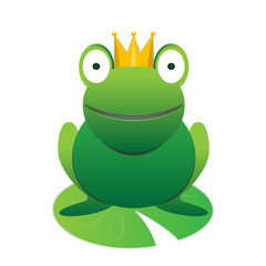 Cute happy smiling green cartoon frog prince with crown vector animal element