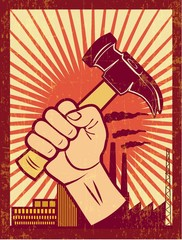 WORKERS RIGHTS poster illustration vector