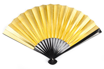 Gold Paper Fan in White background