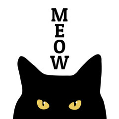 Black cat and meow inscription. Print on clothes