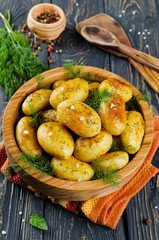 Young roasted potatoes