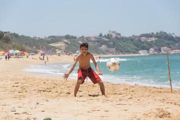 Children playing ball on a beach