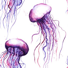 Vector watercolor jellyfish seamless pattern