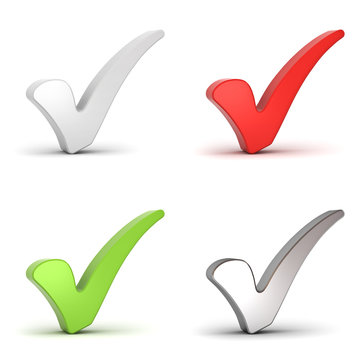 Check marks or 3d ticks isolated over white background