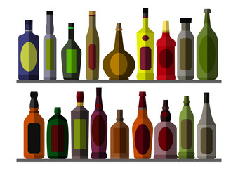 Collection bottle for alcoholic. Eps10 vector illustration.