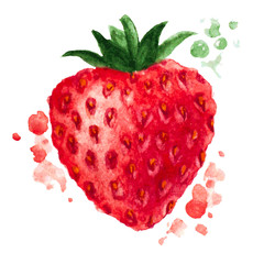 Vector watercolor background. The texture of the strawberry