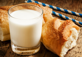 Fresh milk and white bread, selective focus