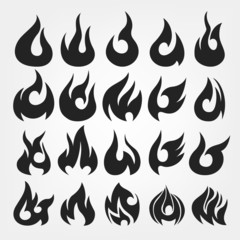 20 Fire Flames icon set