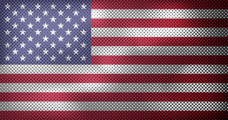 Flag of United States of America with overlay halftone dots effect