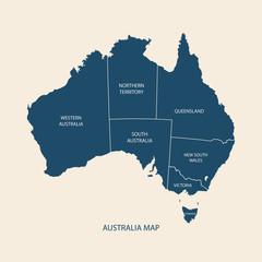 AUSTRALIA MAP WITH REGIONS illustration vector