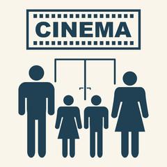 PARENTS TAKE CHILDREN TO THE CINEMA pictogram illustration vector