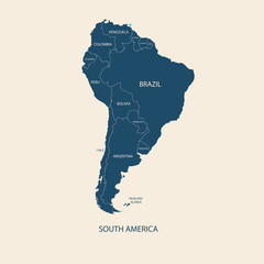 SOUTH AMERICA COLOR MAP WITH NAME OF COUNTRIES flat illustration vector