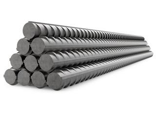 Metal Rebars, Reinforcement Steel, Isolated on White