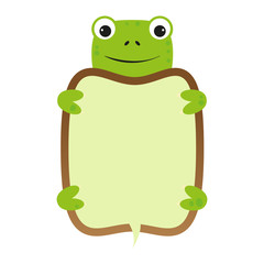 funny smile cartoon turtle self frame