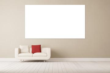 Sofa vor Wand mit Leinwand