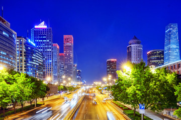Photo sur Toile Pékin Evening, night modern Beijing business quarter of the capital, t