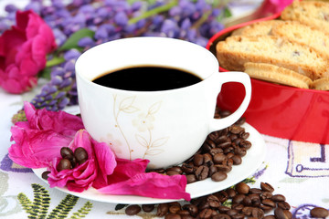 A cup of morning coffee on the nature with cookies