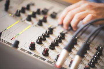Recording music in studio