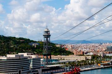 Blick von der Hafenseilbahn Barcelona