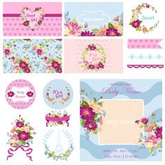 Scrapbook Design Elements - Baby Shower Flower Theme