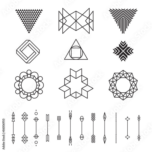 set of geometric shapes vector illustration isolated line design