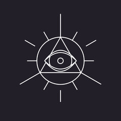 All seeing symbol, modern line design, vector