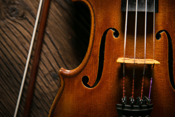 violin in vintage style, close-up