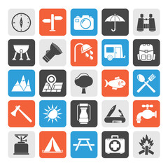 Silhouette Camping and tourism icons - vector icon set