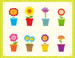 Cute Flowers - Cartoon set of eight cute flowers in a pot. Eps10