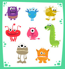 Photo sur Aluminium Creatures Monsters - Cute cartoon set of eight colorful monsters. Eps10