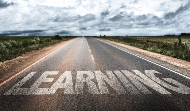 Learning written on rural road