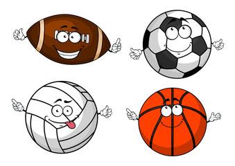 Cartoon isolated sport balls characters