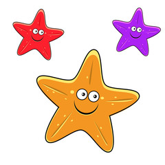 Cartoon yellow, red and violet starfish characters
