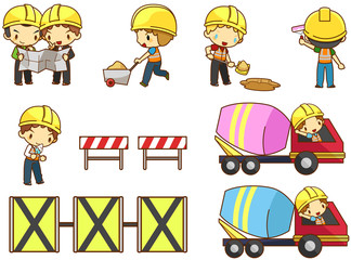 Cartoon children engineer labor worker working on construction site vector