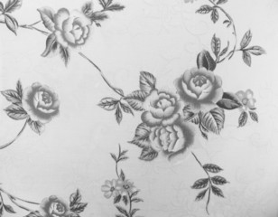 Retro Lace Floral Seamless Pattern Monotone Black and White Fabric Background