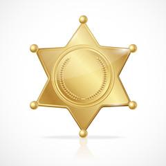 Vector golden sheriff badge star empty
