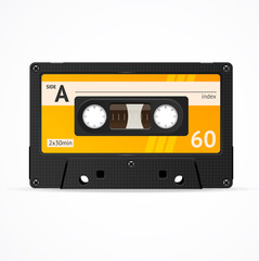 Vector Orange Cassette Tape isolated