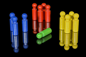 segregation by color are represented by wood pegs