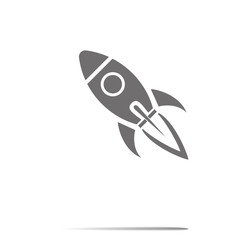 Start Up Symbol Space Rocket Ship Sky on white background
